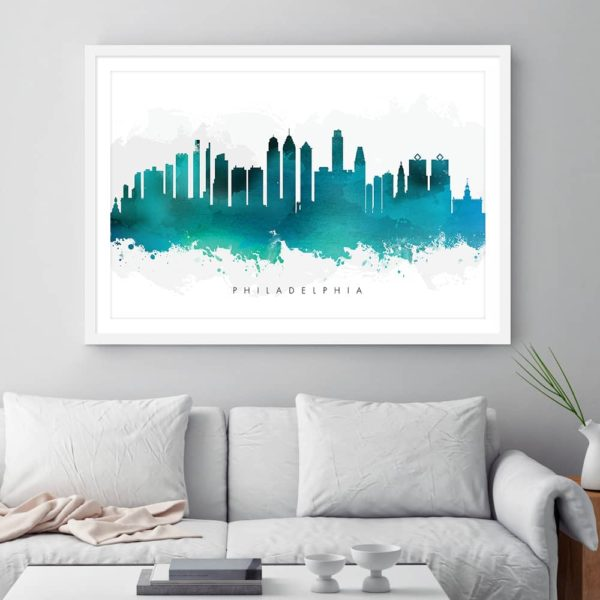 philadelphia skyline green watercolor print framed