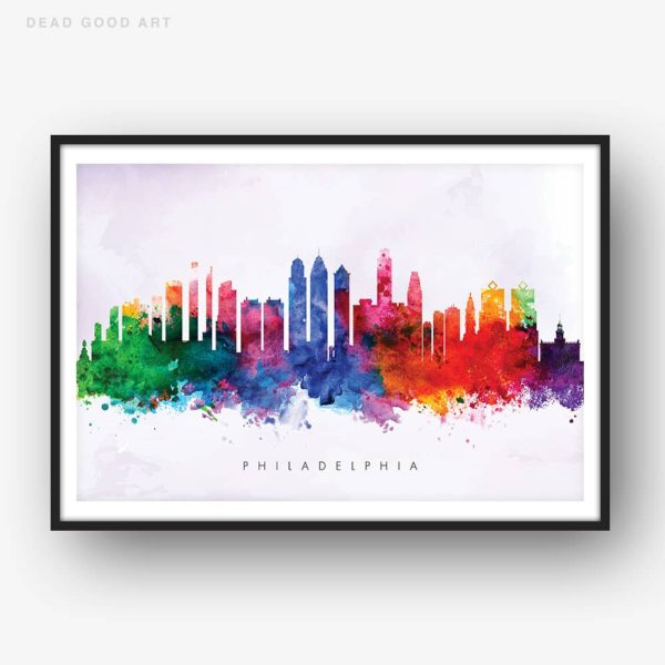 philadelphia skyline purple wash watercolor print
