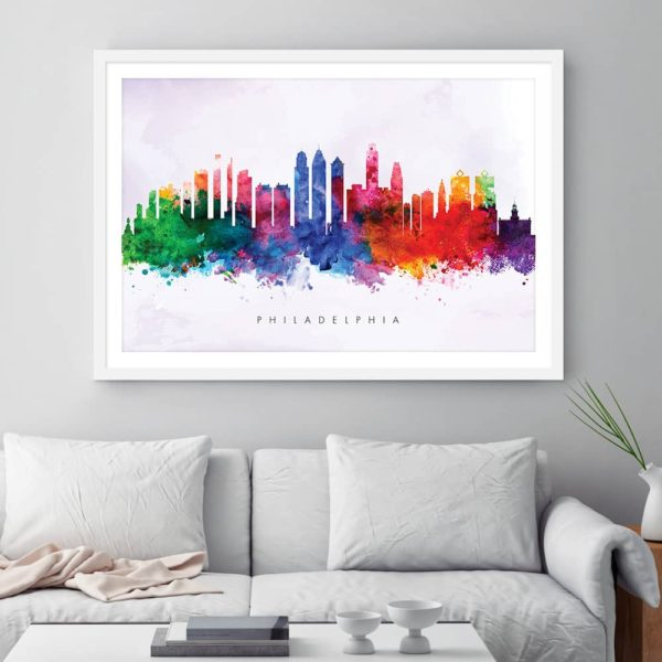 philadelphia skyline purple wash watercolor print framed