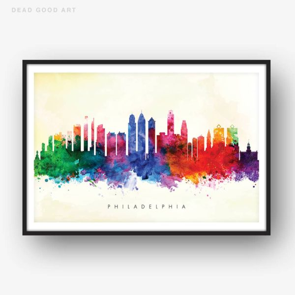 philadelphia skyline yellow wash watercolor print