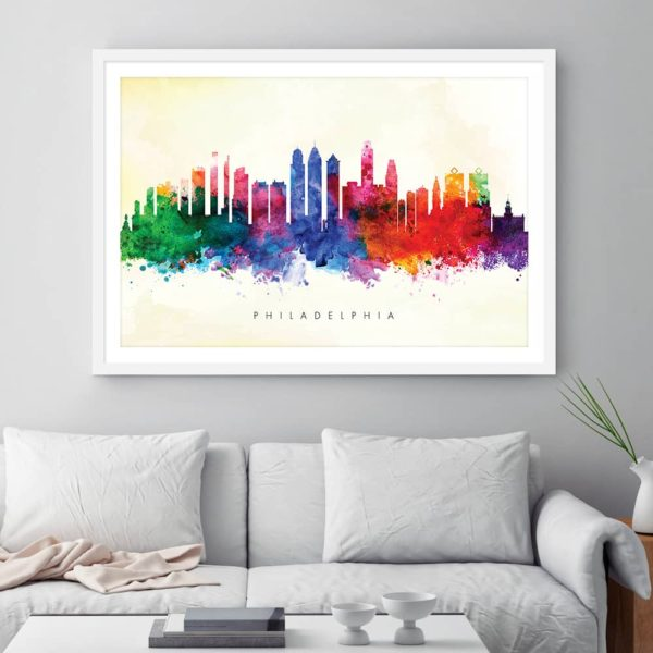 philadelphia skyline yellow wash watercolor print framed