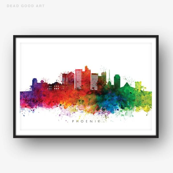 phoenix skyline multi color watercolor print