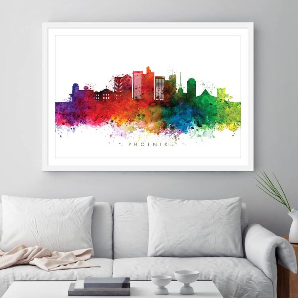 phoenix skyline multi color watercolor print framed