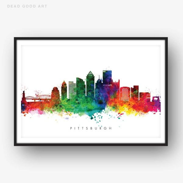 pittsburgh skyline multi color watercolor print