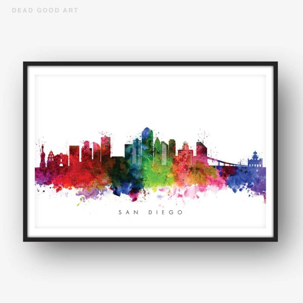 san diego skyline multi color watercolor print