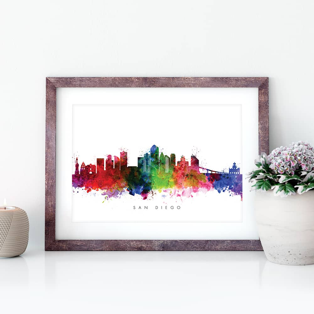 san diego skyline multi color watercolor print closeup