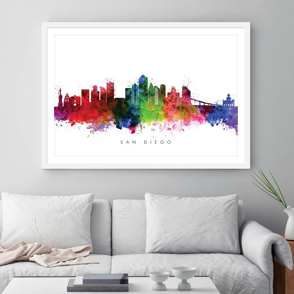 san diego skyline multi color watercolor print framed