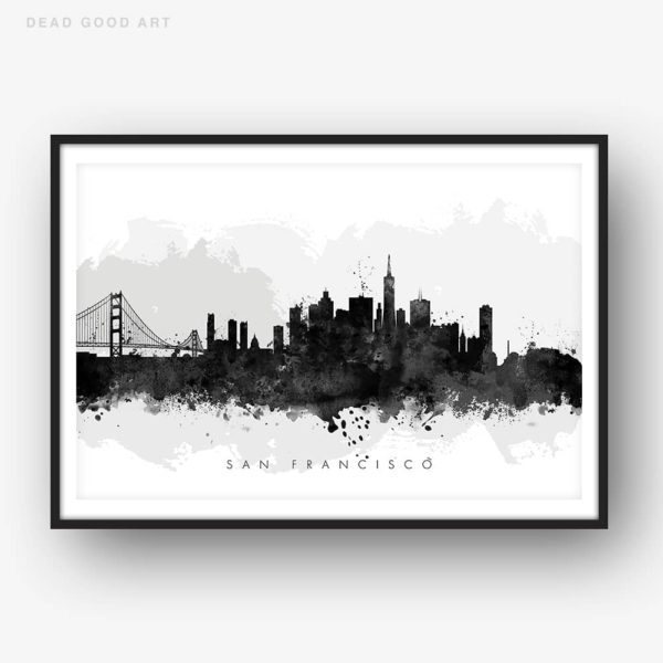 san francisco skyline black white watercolor print