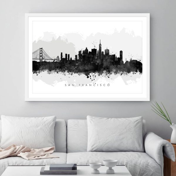 san francisco skyline black white watercolor print framed