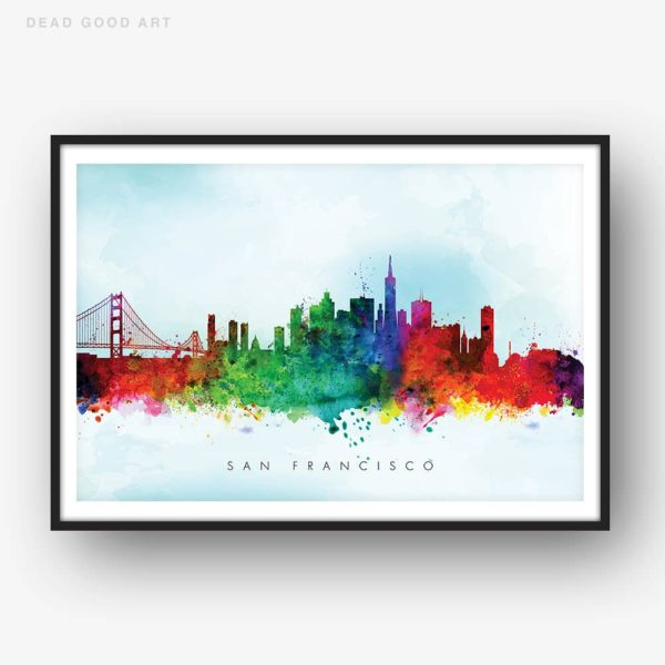 san francisco skyline blue wash watercolor print