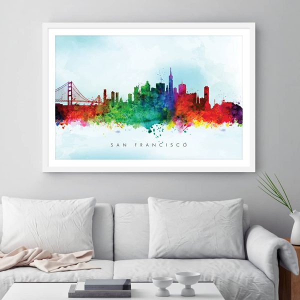 san francisco skyline blue wash watercolor print framed