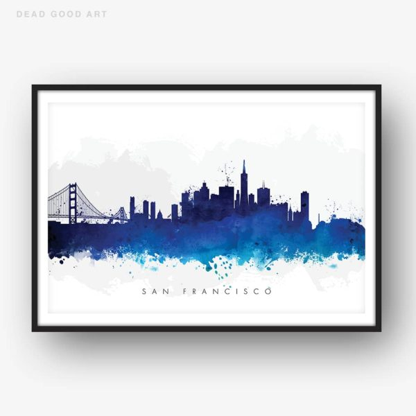 san francisco skyline blue watercolor print