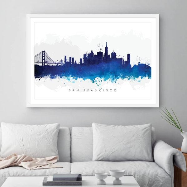 san francisco skyline blue watercolor print framed