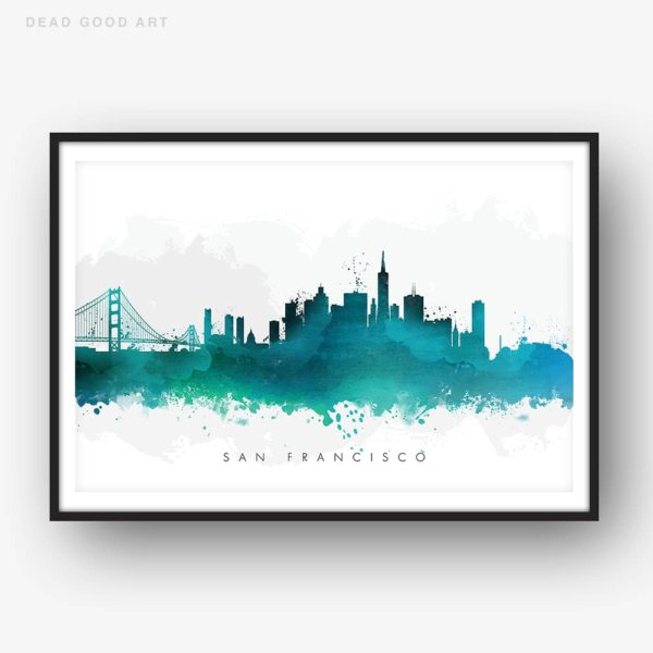 san francisco skyline green watercolor print