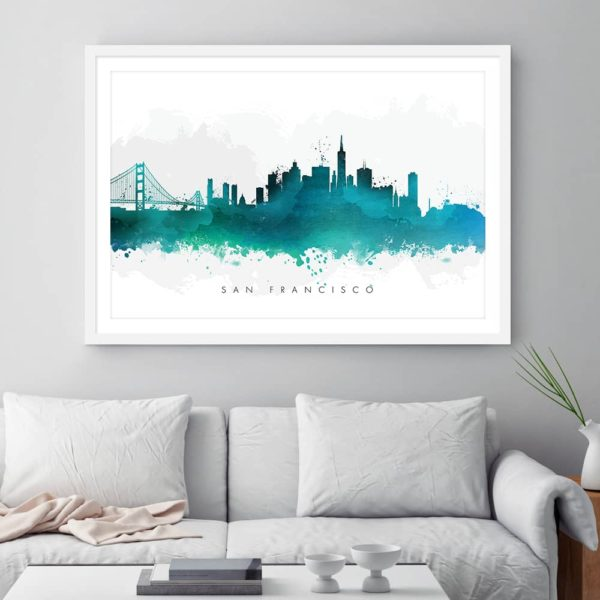 san francisco skyline green watercolor print.psd framed