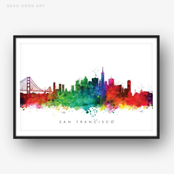 san francisco skyline multi color watercolor print
