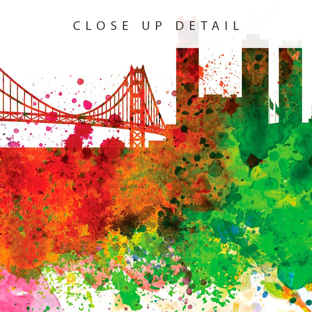 san francisco skyline multi color watercolor print detail