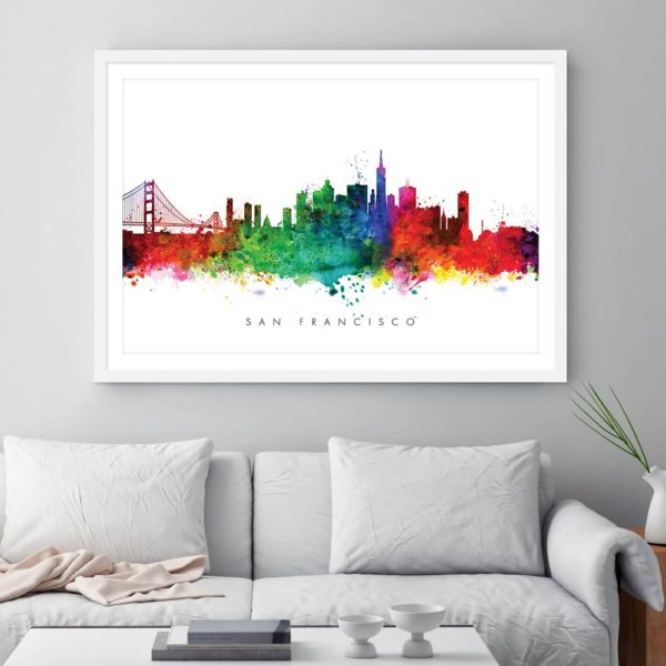 san francisco skyline multi color watercolor print framed