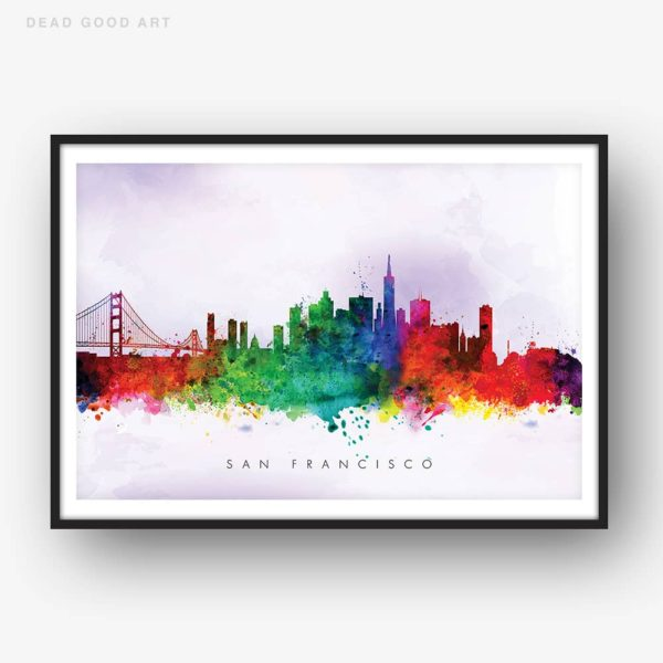 san francisco skyline purple wash watercolor print