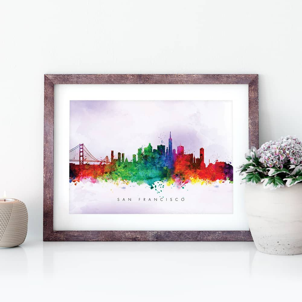 san francisco skyline purple wash watercolor print closeup