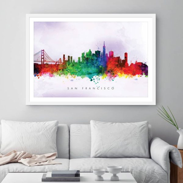 san francisco skyline purple wash watercolor print framed