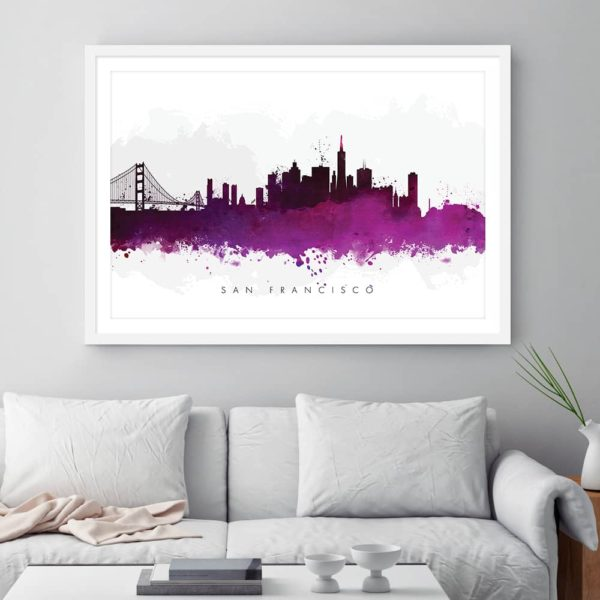 san francisco skyline purple watercolor print framed