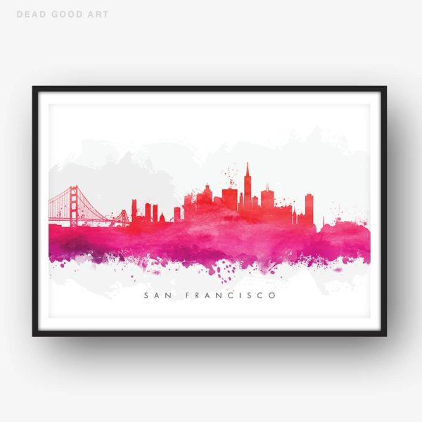 san francisco skyline red watercolor print