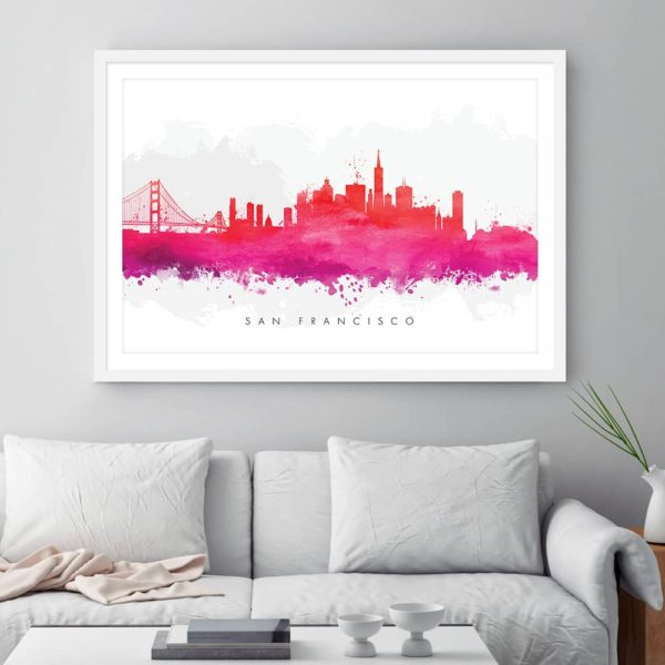 san francisco skyline red watercolor print framed