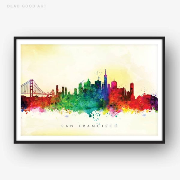 san francisco skyline yellow wash watercolor print
