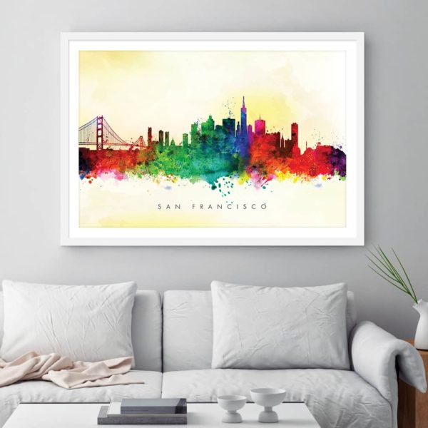 san francisco skyline yellow wash watercolor print framed