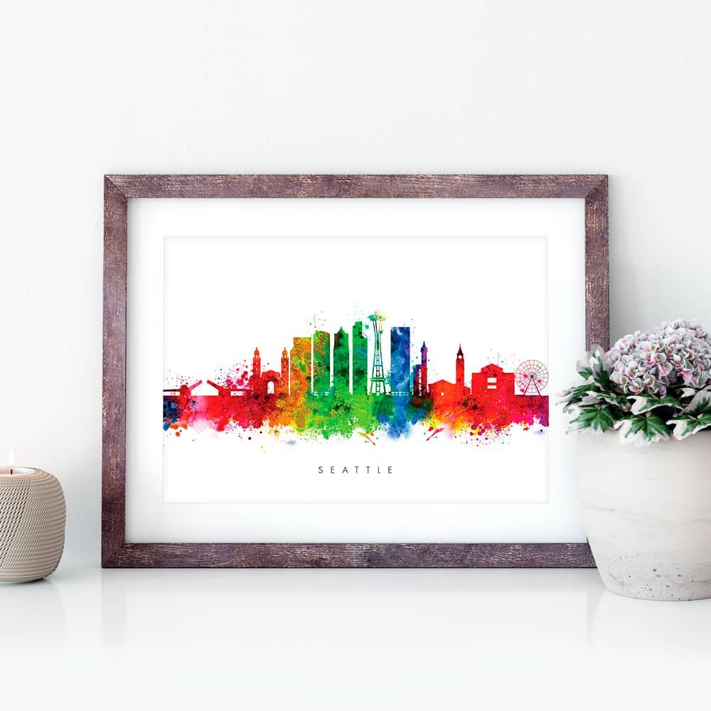 seattle skyline multi color watercolor print closeup