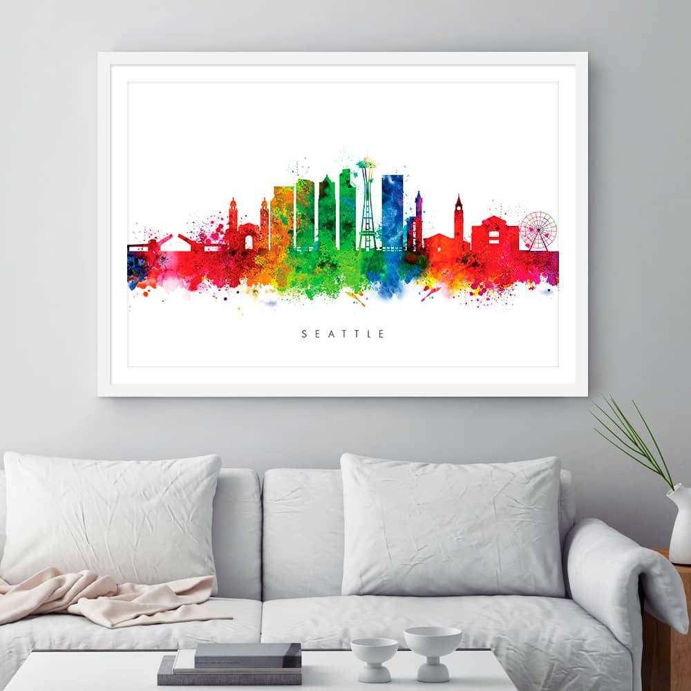 seattle skyline multi color watercolor print framed