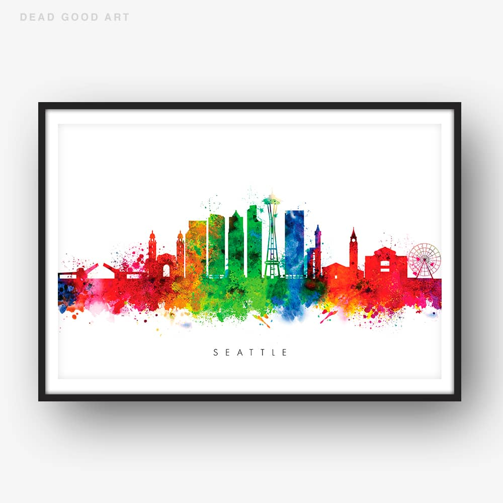 seattle skyline multi color watercolor print