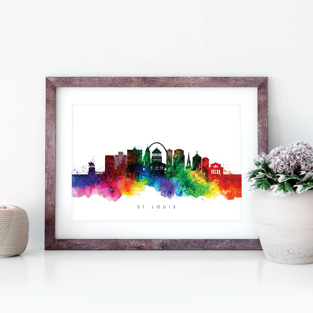 st louis skyline multi color watercolor print closeup