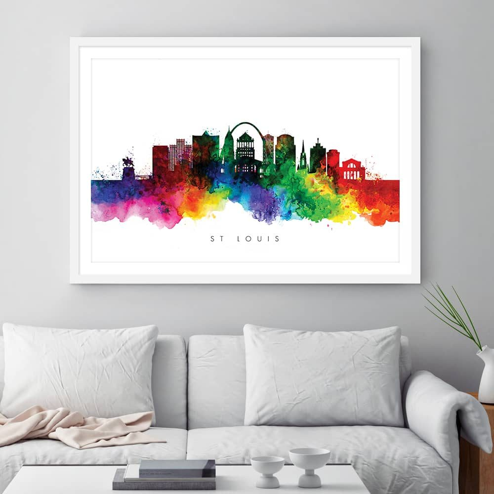 st louis skyline multi color watercolor print framed