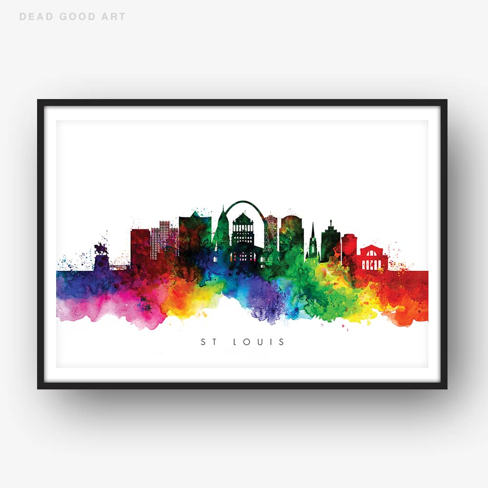 st louis skyline multi color watercolor print