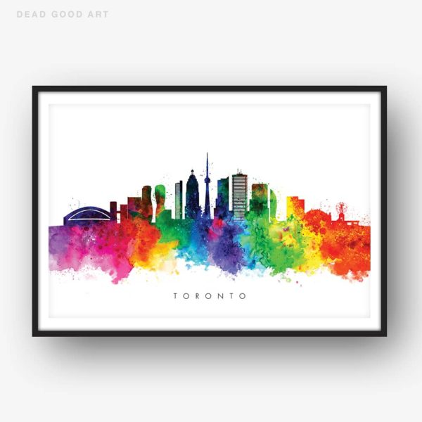 toronto skyline multi color watercolor print