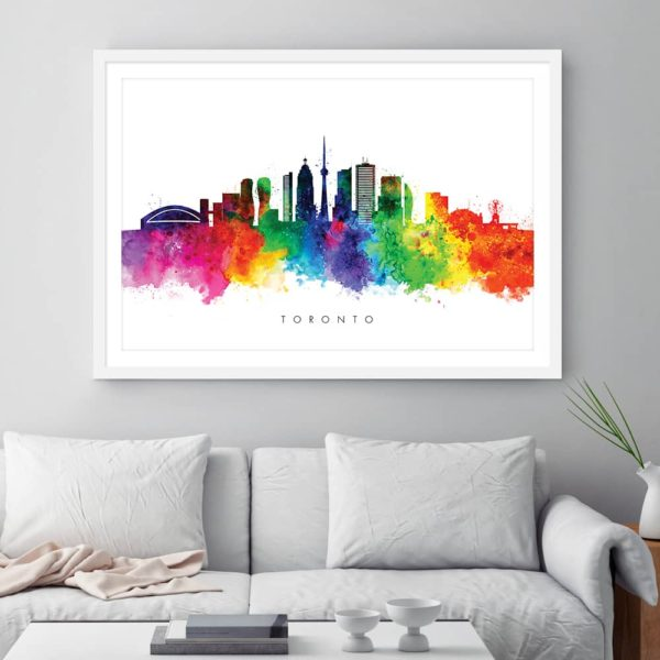 toronto skyline multi color watercolor print framed
