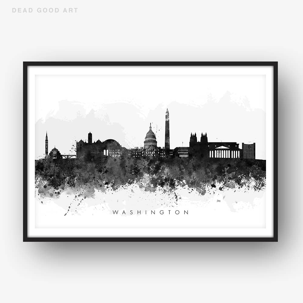 washington skyline black white watercolor print