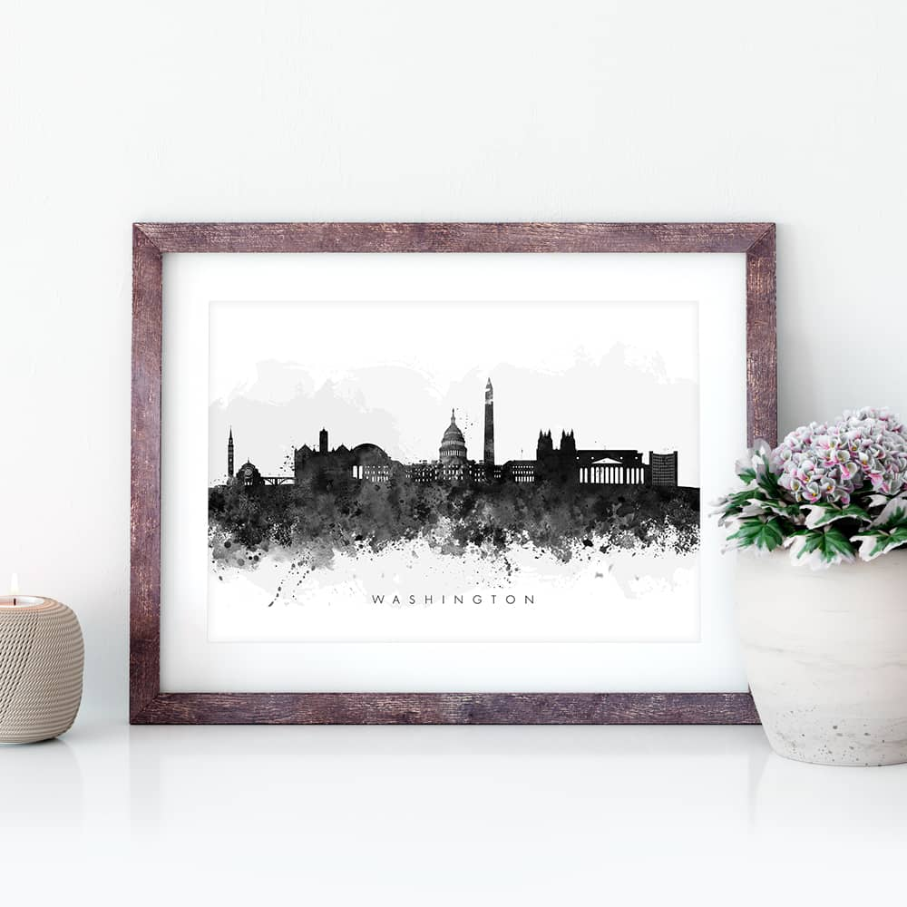 washington skyline black white watercolor print closeup