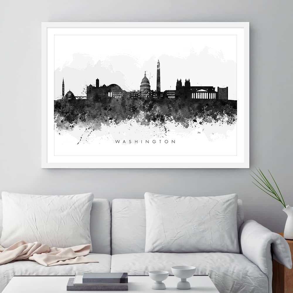 washington skyline black white watercolor print framed