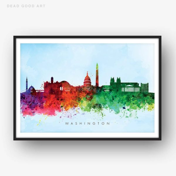 washington skyline blue wash watercolor print