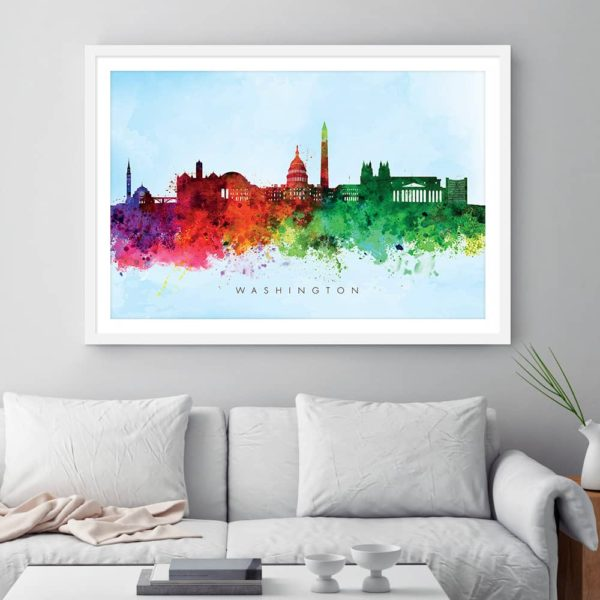washington skyline blue wash watercolor print framed