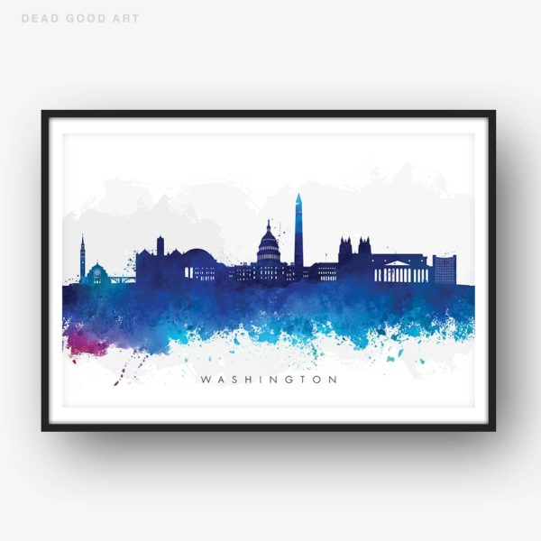 washington skyline blue watercolor print