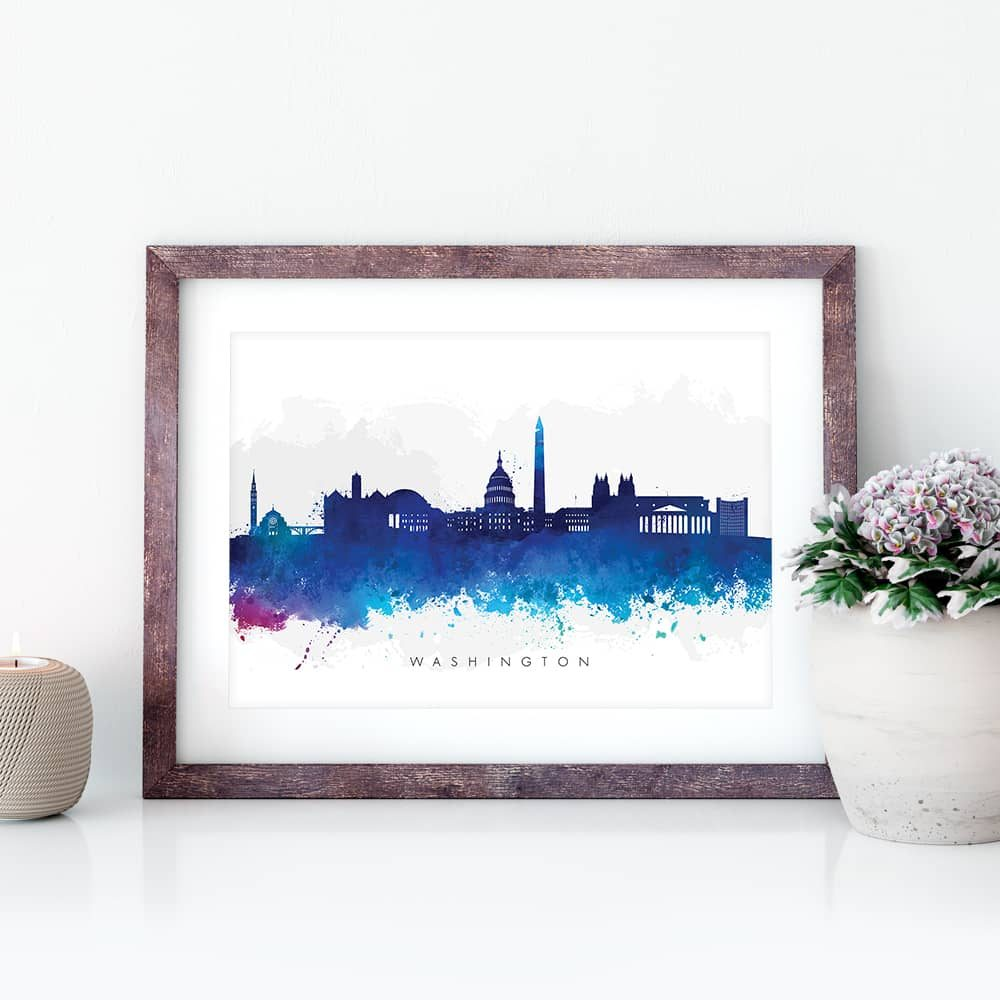 washington skyline blue watercolor print closeup