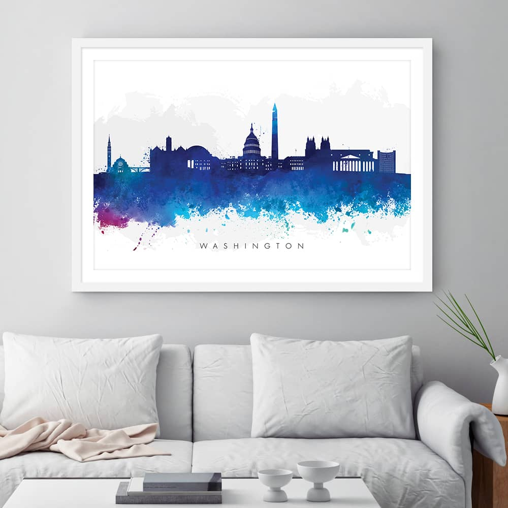 washington skyline blue watercolor print framed