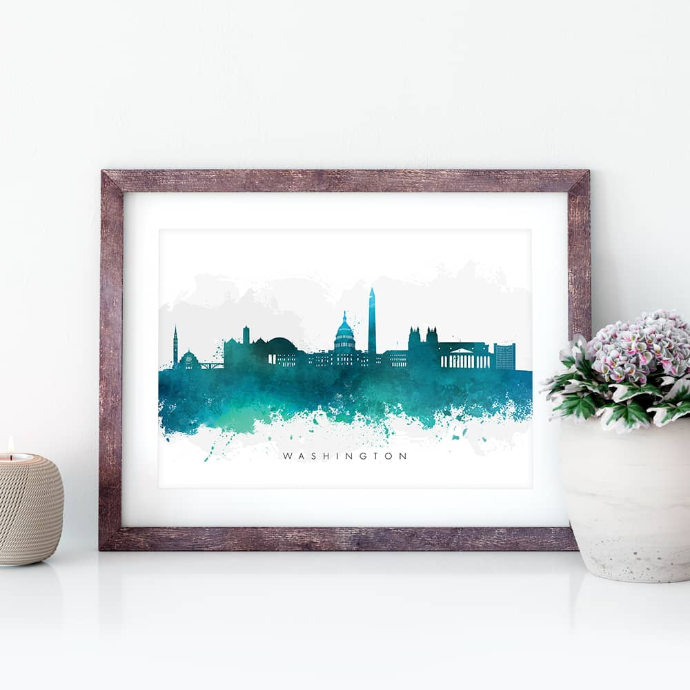 washington skyline green watercolor print closeup