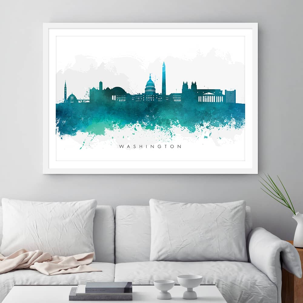 washington skyline green watercolor print framed