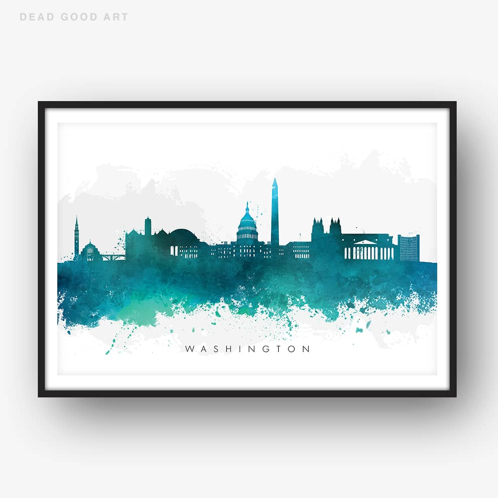 washington skyline green watercolor print