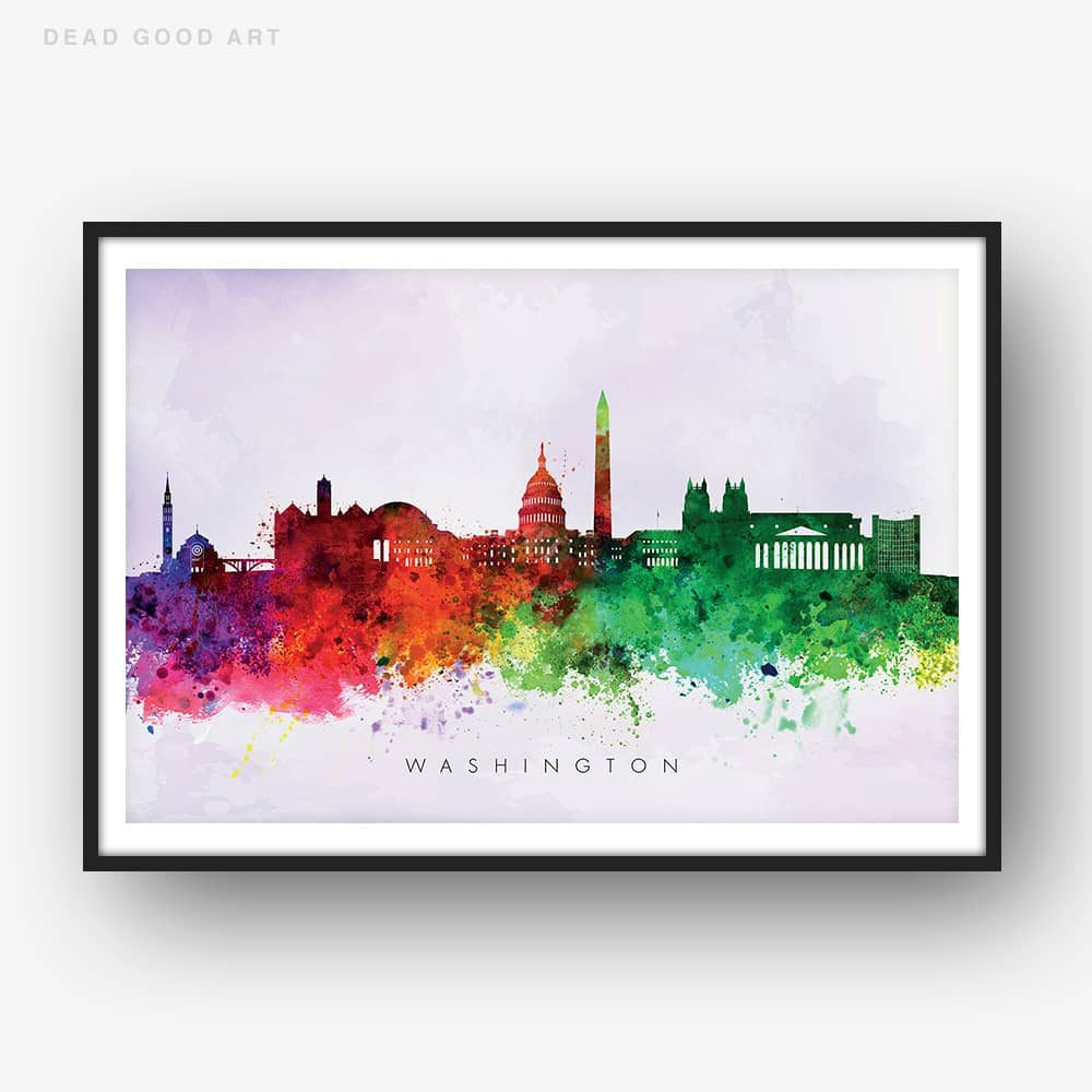 washington skyline purple wash watercolor print